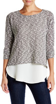 Bobeau Crew Neck Layered Pullover Sweater (Petite)