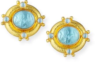 Elizabeth Locke Quadriga Intaglio Clip/Post Earrings, Light Aqua
