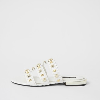 River Island Womens White caged studded flat Mule sandal