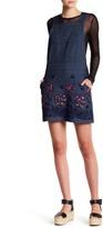 Anna Sui Pansy Applique Denim Overall Dress