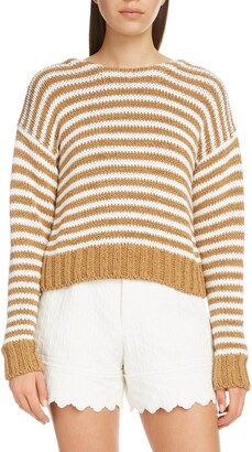 Chloé Lace Up Stripe Sweater