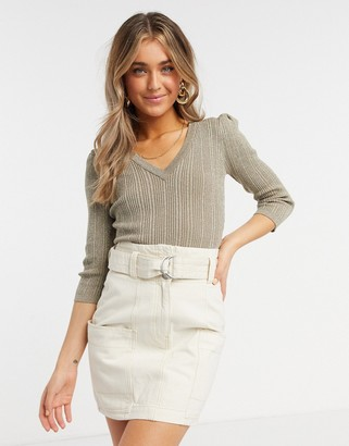 Morgan glitter 3/4 sleeve knitted ribbed jumper in gold taupe