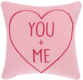 Phi Pink You+me Embroidered Velvet Pillow