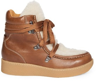 Isabel Marant Alpica Shearling-Trimmed Leather Hiking Boots