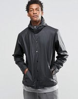 Rains Coach Jacket with Detachable Hood In Black
