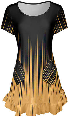 Lily Women's Tunics BLK - Black & Yellow Abstract Ombre Ruffle-Hem Angled-Pocket Tunic - Women & Plus