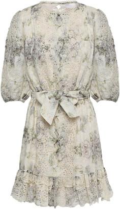 Zimmermann Floral-print Broderie Anglaise Linen Mini Dress