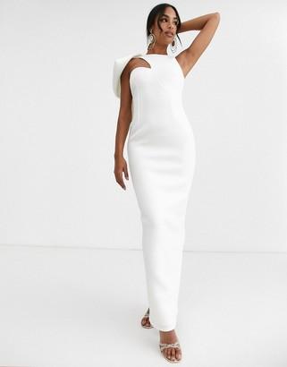 True Violet Black Label maxi dress with frill shoulder in ivory-White