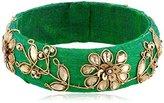 Chamak by Priya Kakkar Beaded Green Leaf Velvet Bangle Bracelet