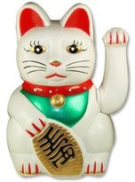 Happy Sales HSFC-WCW02 Maneki Neko Lucky Fortune Cat White Waving Arm
