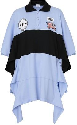 Burberry Drape Detail Striped Cotton Oversized Polo Shirt Dress