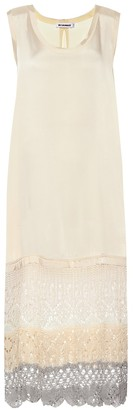 Jil Sander Crochet-trimmed midi dress
