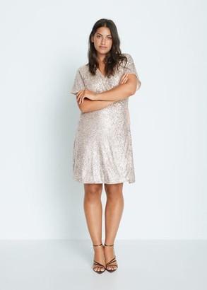 MANGO Violeta BY Sequin wrap dress silver - 10 - Plus sizes