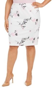 Kasper Plus Size Embroidered Floral Skirt