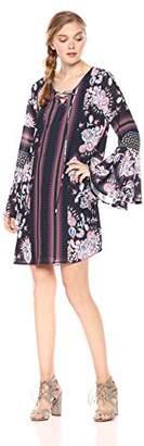 Ella Moon Women's Iliana 3/4 Bell Sleeve Lace up Neck Shift Dress