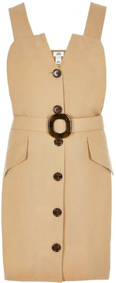 River Island Belted Pinafore Dress - Beige