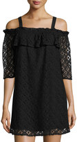 BCBGeneration Geometric-Lace Off-the-Shoulder Cocktail Dress