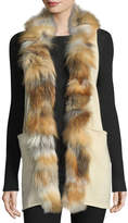 Adrienne Landau Fur-Trim Long Knit Vest