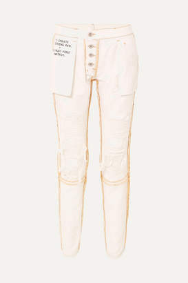 Unravel Project Reversible Distressed Mid-rise Skinny Jeans - White