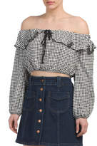 Juniors Made In USA Gingham Top