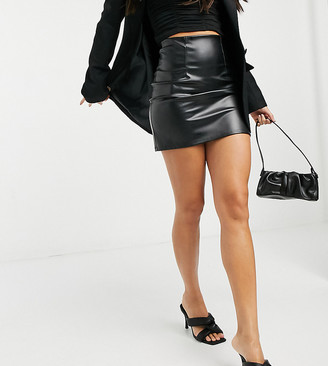 Asos Tall ASOS DESIGN Tall leather look seamed super mini skirt in black