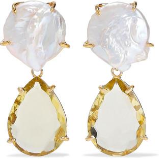 Bounkit 14-karat Gold-plated, Freshwater Pearl And Quartz Earrings