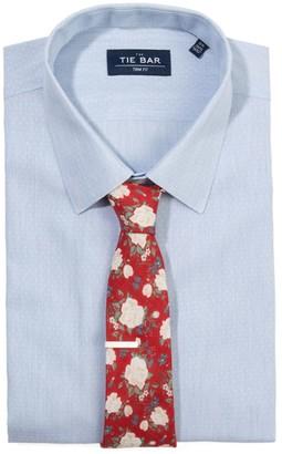 The Tie BarThe Tie Bar Blue Heathered Chambray Dobby Non-Iron Shirt