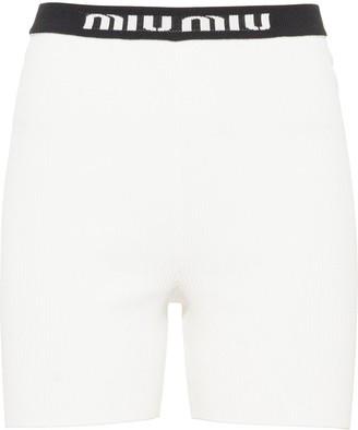 Miu Miu Ribbed Knitted Shorts