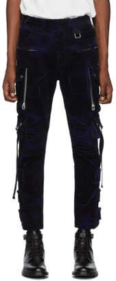 Faith Connexion Navy Corduroy Camo Cargo Pants
