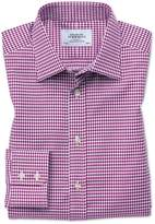 Slim Fit Large Puppytooth Berry Cotton Formal Shirt Single Cuff Size 14.5/33 by Charles Tyrwhitt