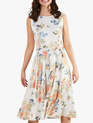 Yumi Oriental Floral Print Dress, Ivory