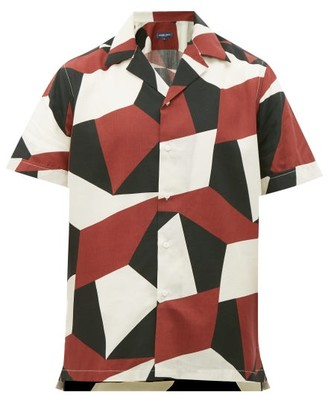 Frescobol Carioca Modernist Geometric-print Cuban-collar Shirt - Mens - Burgundy Multi