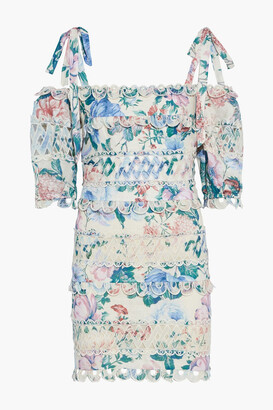 Zimmermann Verity Dot Cold-shoulder Floral-print Broderie Anglaise Linen Mini Dress