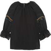 Fendi Mesh-trimmed Silk Crepe De Chine Blouse - Black