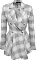 Romanstii Women Plaid Double-Breasted Flouncing Coat Casual Outerwear