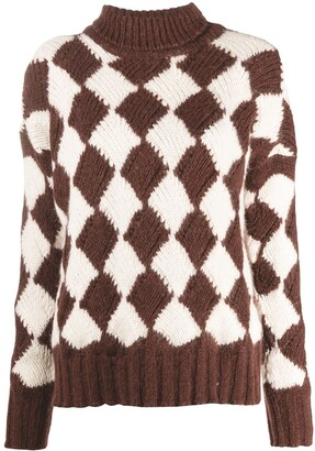 Plan C Geometric Roll-Neck Jumper