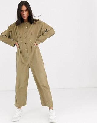 ASOS DESIGN cord relaxed boilersuit in khaki