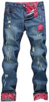magic show 2014 Mens Torn Jeans Vintage Distressed Skull Patches Slim Cut NZ05