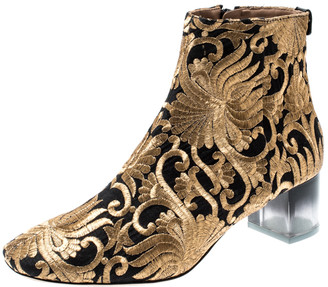 Tory Burch Metallic Gold Brocade Fabric Ankle Boots Size 39