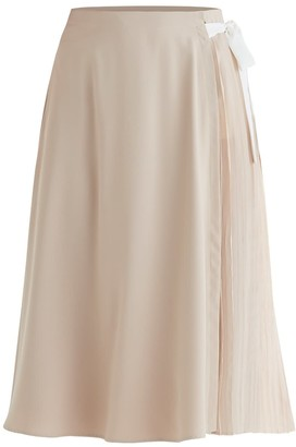 Paisie Marylebone Side Pleated Skirt In Beige & White