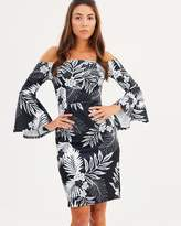 Dorothy Perkins Printed Bardot Flute Sleeve Dress
