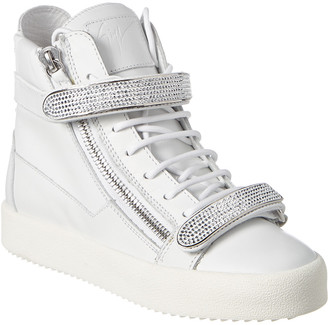 Giuseppe Zanotti Coby Embellished Leather High-Top Sneaker