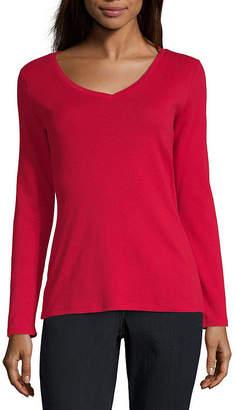 Liz Claiborne Long Sleeve V-Neck Tee - Tall