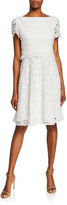 N. Shani Bateau-Neck Short-Sleeve Fit-&-Flare Popover Lace Dress