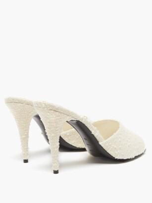 Saint Laurent La 16 Boucle-tweed Mules - White