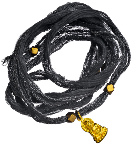 Perlin Design Silk Cord Buddha Charm Wrap Bracelet