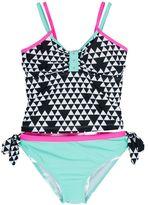 Big Chill Girls 4-6x Geometric Tankini Bikini Set