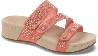 Vionic Suede Platform Sandals with Rhinestones - Alexis