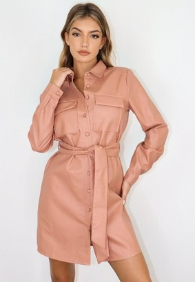Missguided Blush Faux Leather Utility Pocket Belted Shirt Dress