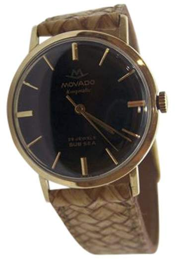 Movado Kingnatic Sub Sea 14K Yellow Gold Automatic 32.5 mm Mens Watch 1960s